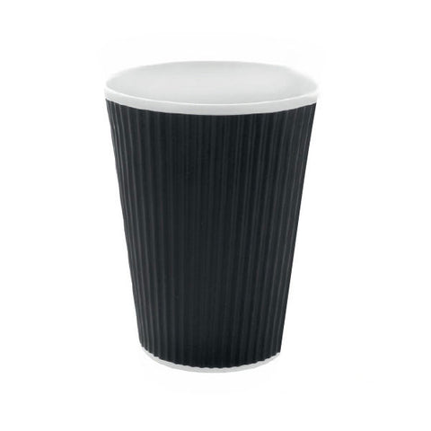 Eco Friendly 16 Oz. Black Rippled Outside Paper Cup/Case of 500