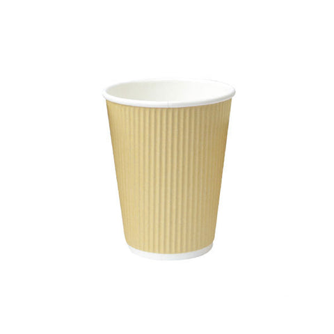 Eco Friendly 8 Oz. 3.1T x 3.6H Beige Rippled Outside Paper Cup/Case of 1000