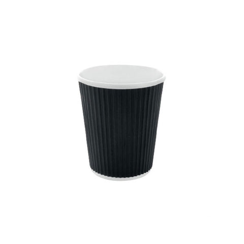 Eco Friendly 10 Oz. Black Rippled Outside Paper Cup/Case of 1000