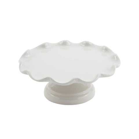 11 dia. x 4 inch Scalloped Cake Stand with Pedestal Sandstone White