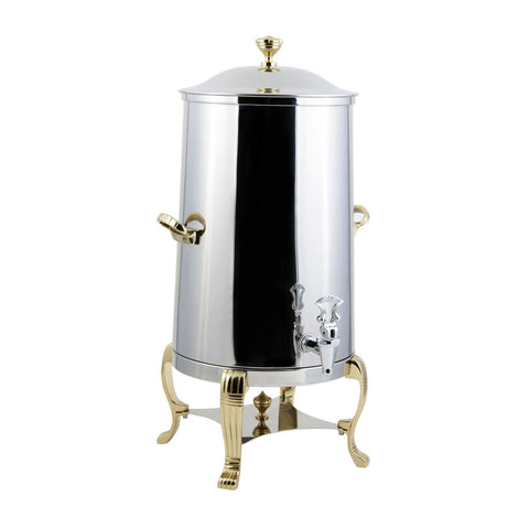 1 1/2 gal Aurora Insulated Coffee Urn with Brass Trim with Contemporary Handle