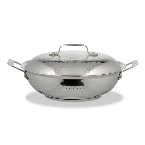 2 qt 10 3/8 dia. x 3 H inch Cucina 10 Inch Braiser Pan with Lid Hammered Finish Induction Bottom