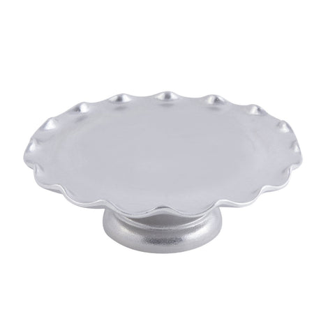 13 1/2 dia. x 4 inch Scalloped Cake Stand with Pedestal Pewter Glo