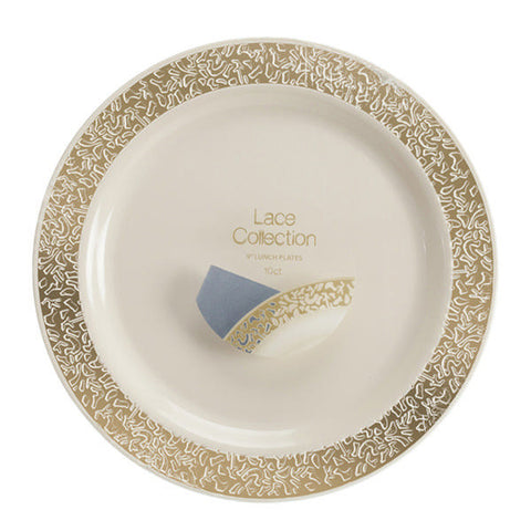 Lace Collection 10.25 inch Plates Ivory/Gold/Case of 120