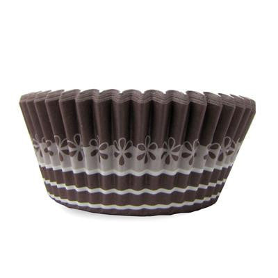 1 1/2 x 3 x 2 Brown and Flower Design Baking Cups/Case of 1728