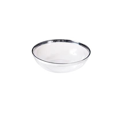 Small Silver Rimmed Round Clear Plastic Bowls/Case of 96