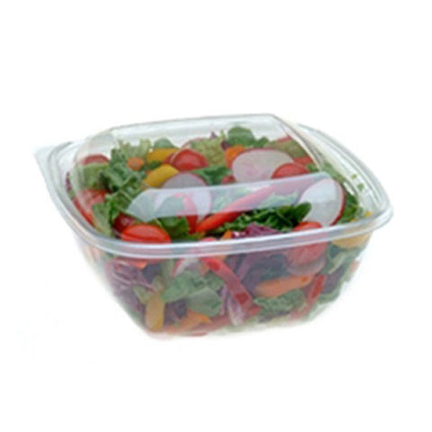 12 oz. Clear Square Bowl with Clear Dome Spork Lid/Case of 250