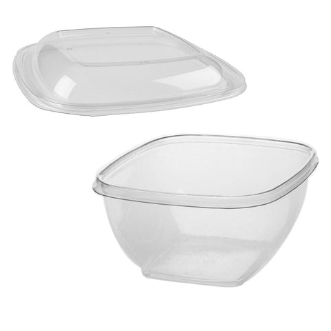 16 oz. Clear PETE Square Tamper Evident Bowl with Lid/Case of 250