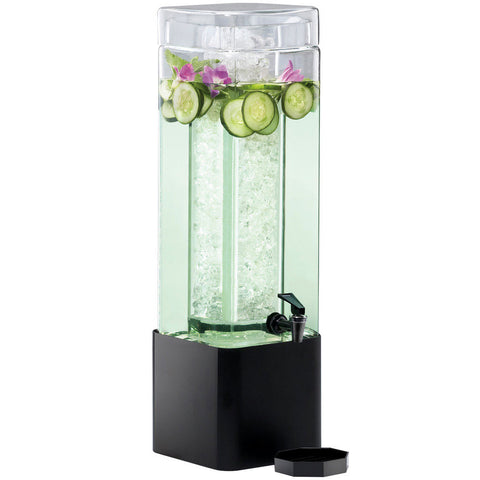 1.5 Gallon Mission Square Glass Beverage Dispenser with Black Metal Base