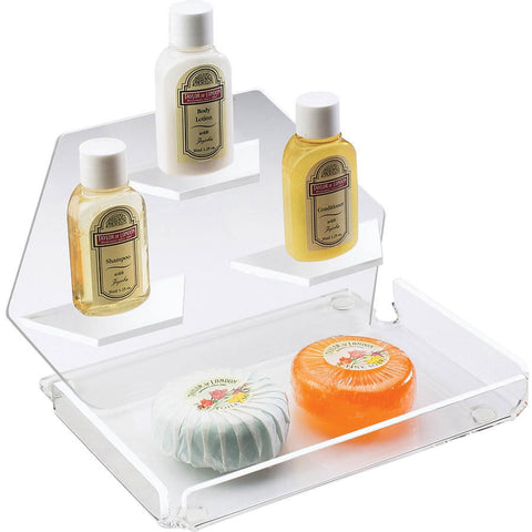 7.5W x 7.5D x 5H Clear Amenity Tray with Shelves 2 Tier
