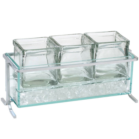 13.5W x 5.5D x 7H Iron Iced Condiment Display Short Silver