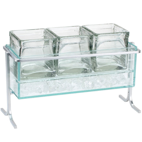13.5W x 5.5D x 9H Iron Iced Condiment Display Tall Silver