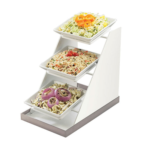 10W x 16.25D x 17H Luxe Three Bowl Display White Metal/Stainless Steel Base