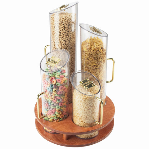 12W x 12D x 20H Turntable Cereal Dispensers Wood Base