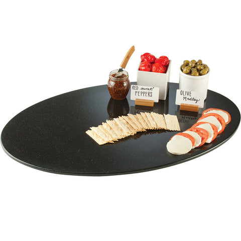 19W x 31H  Oval Simulated Stone Trays Black