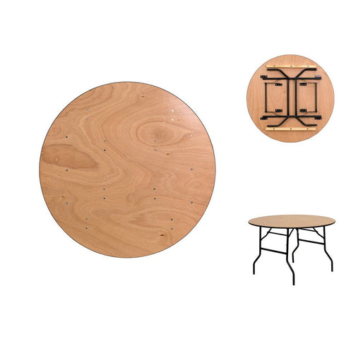 48 Inch Birch Round Folding Table