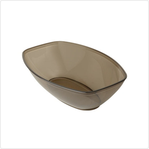 Smoke 64 oz Plastic Oval Salad Bowls/Case of 50
