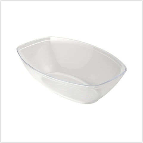 Clear 64 oz Plastic Oval Salad Bowls/Case of 50