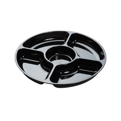 12 Inch 5 Compartment Plastic Trays/Case of 24