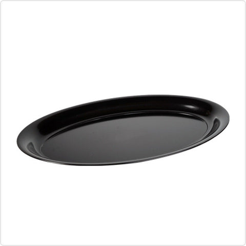 Black 14 x 21 Plastic Oval Tray/Case of 20