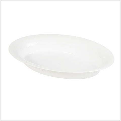 White 14 x 21 250 oz Plastic Oval Bowls/Case of 20