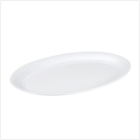 White 14 x 21 Plastic Oval Tray/Case of 20
