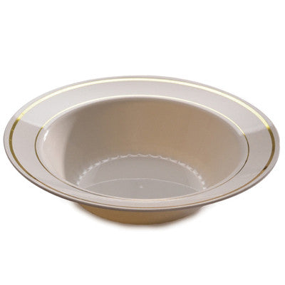 12 oz Plastic Bowls in Ivory with Gold Band/Case of 150