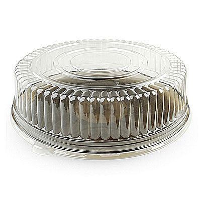 16 Inch Classic Plastic Round Trays with Clear Dome Lid 25 Set