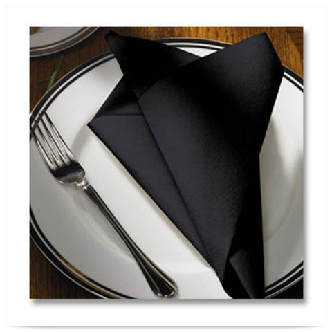 15 1/2 x 15 1/2 FashnPoint Flat Pack Black Napkin Ultra Ply Color In Depth/Case of 750