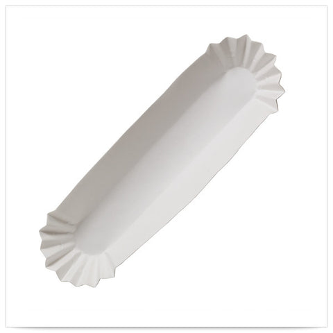 10 x 1 5/8 x 1 1/4 White Fluted Hot Dog Tray Heavyweight Foot Long/Case of 3000