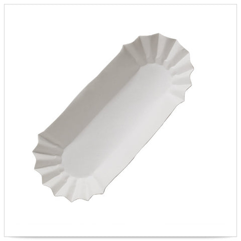 6 x 1 5/8 x 1 1/4 White Fluted Hot Dog Tray Medium Weight Closed End/Case of 3000