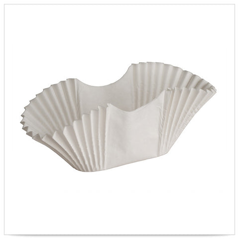 3 3/4 x 1 3/4 x 2 5/8 White Fluted Burger Cup/Taco Holder/Bagel Blanket/Case of 2000