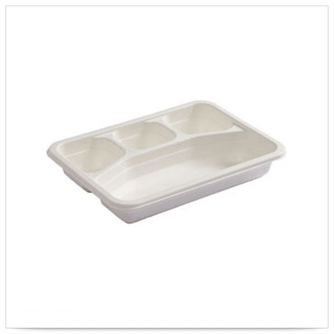 10 3/4 x 8 x 1 3/4 Earth Wise Tree Free Stackable Heavyweight 4 Compartment Catering Box/Case of 200
