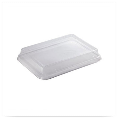 11 x 8 1/2 x 1 1/2 Earth Wise Tree Free Stackable Clear PLA Lid for Catering Box/Case of 200