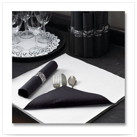 15 1/2 x 15 1/2 FashnPoint Flat Pack Black Napkin Ultra Ply Two Tone/Case of 750