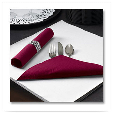 15 1/2 x 15 1/2 FashnPoint Flat Pack Burgundy Napkin Ultra Ply Two Tone/Case of 750