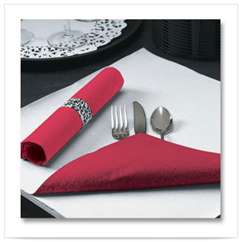 15 1/2 x 15 1/2 FashnPoint Flat Pack Red Napkin Ultra Ply Two Tone/Case of 750