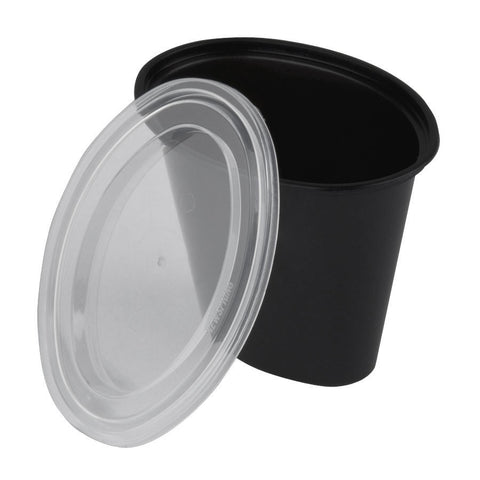 1 oz Microwaveable  Black Oval Base with Clear Lid/Case of 1000