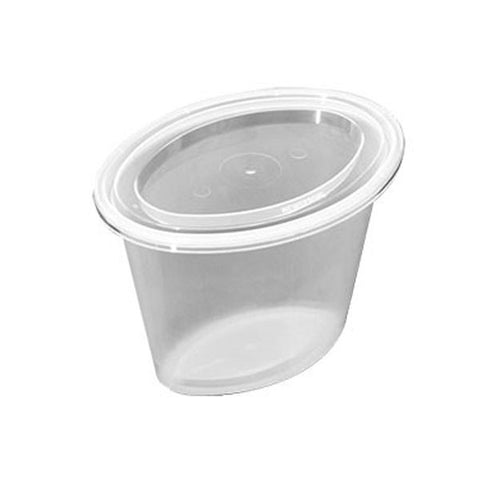 1 oz Microwaveable Clear Oval Base With Clear Lid/Case of 1000