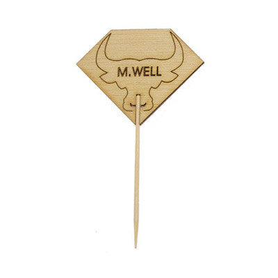 Diamond Shaped MEDIUM WELL Steak Marker with Bull Head/Case of 1000