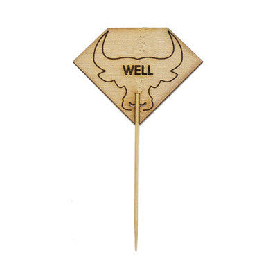 Diamond Shaped WELL Steak Marker with Bull Head/Case of 1000