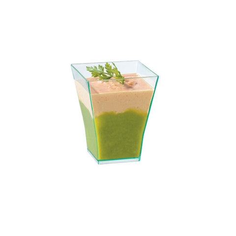 2 oz Taiti Square Clear Green Cup/Case of 600