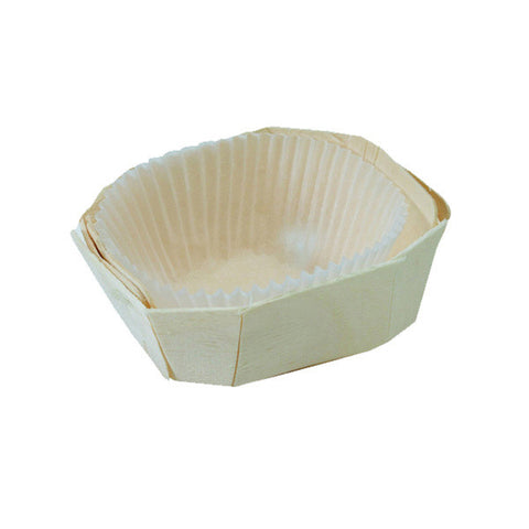 Eco Friendly 3 x 2 1/2 inch MINIMI Wooden Baking Mold with Liners/Case of 500