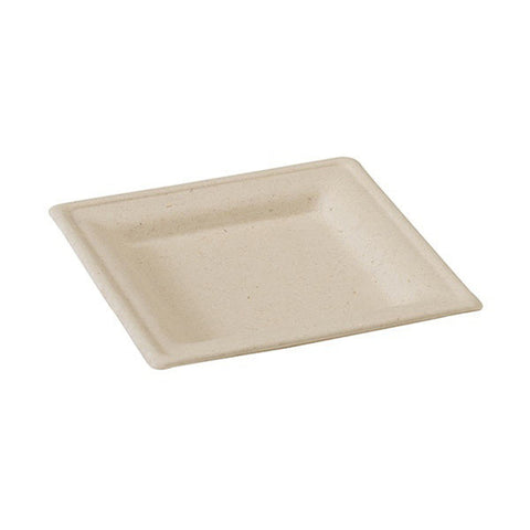 6 1/5 x 6 1/5 Inch Brown Square Sugar Cane Plate/Case of 500