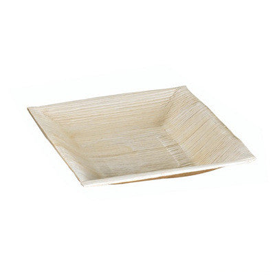 6 1/2 x 6 1/2 x 1 1/5 Palm Leaf Plate with Square Corners and Slanted Edges/Case of 60