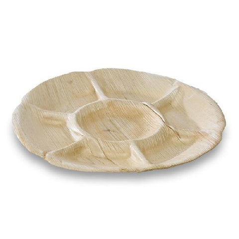 11 3/5 x 1 1/5 Inch Palm Leaf Plate Seven Compartments/Case of 120
