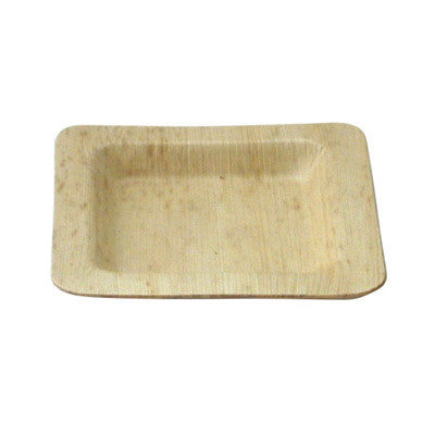 5 9/10 Inch Square Bamboo Leaf Plates/Case of 100