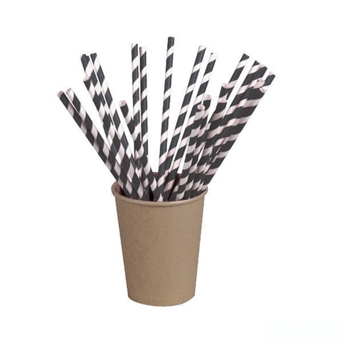 Wrapped Black Striped Paper Straws Coated with Bees Wax 8.3 in/Case of 3000