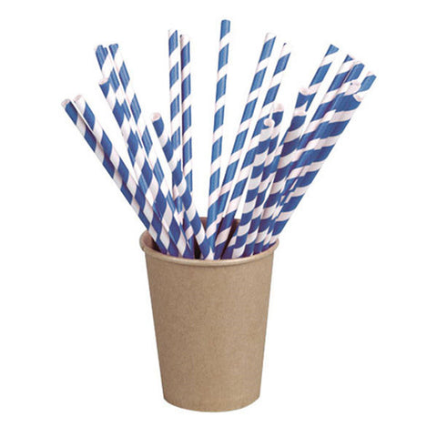 Wrapped Blue Striped Paper Straws Coated with Bees Wax 8.3 in/Case of 3000