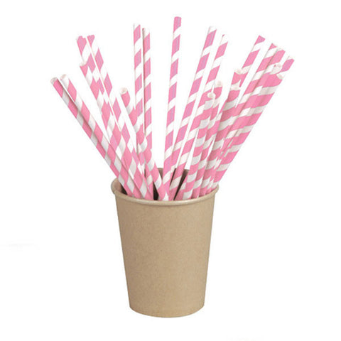 Wrapped Pink Striped Paper Straws Coated with Beeswax 8.3 in/Case of 3000